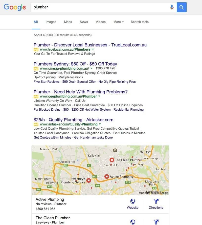 Plumber local search results