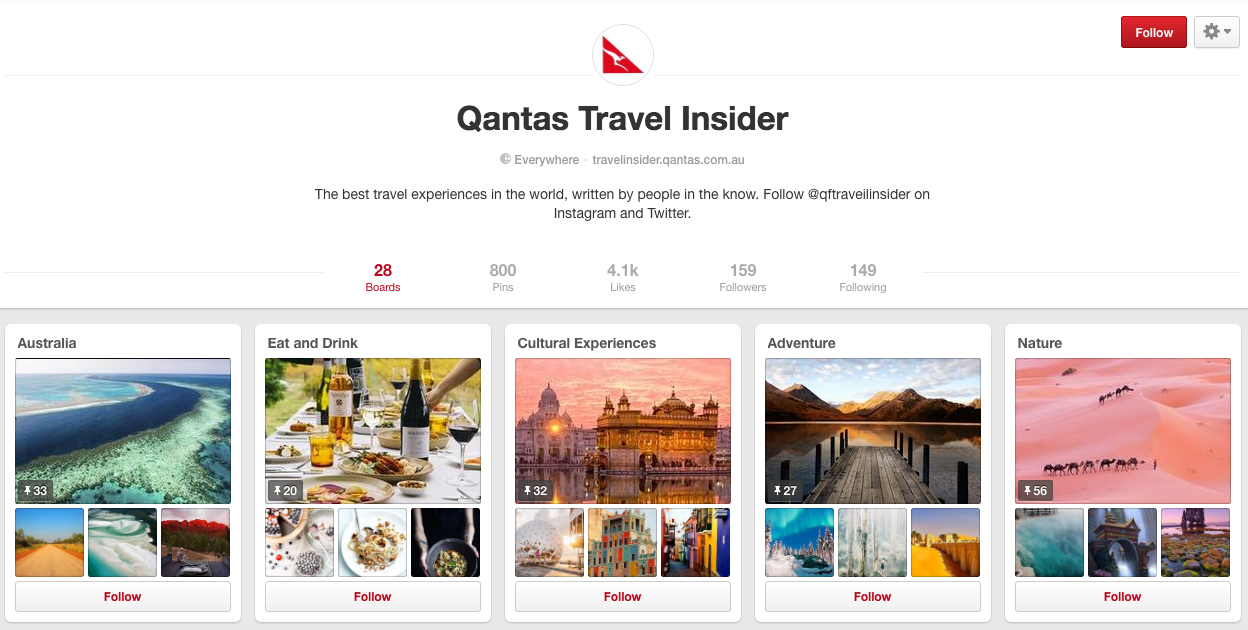 Pinterest - QANTAS Travel Insider Example