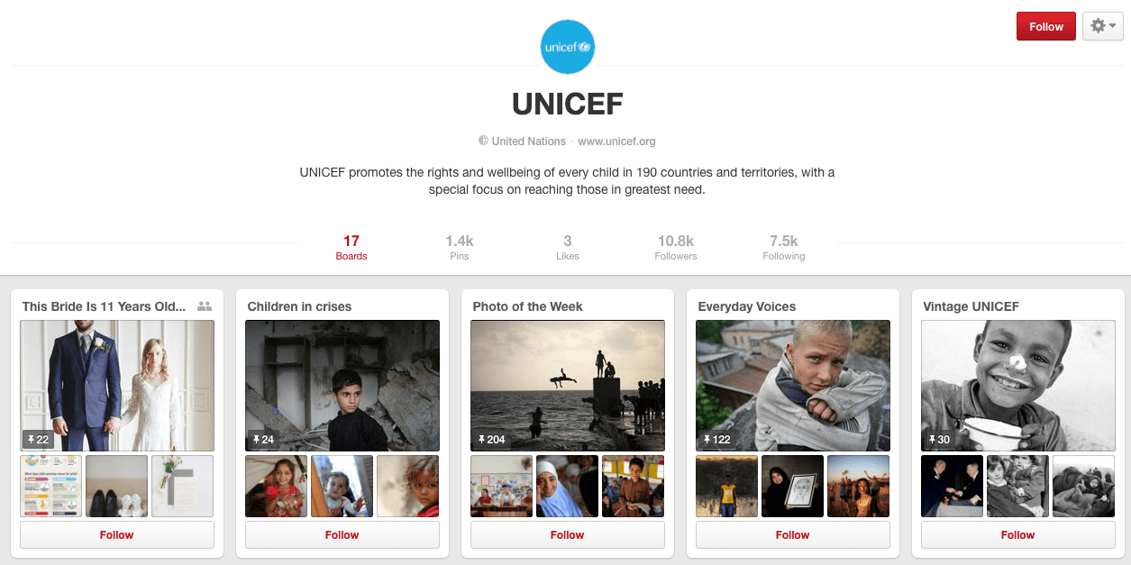 Pinterest - UNICEF Example