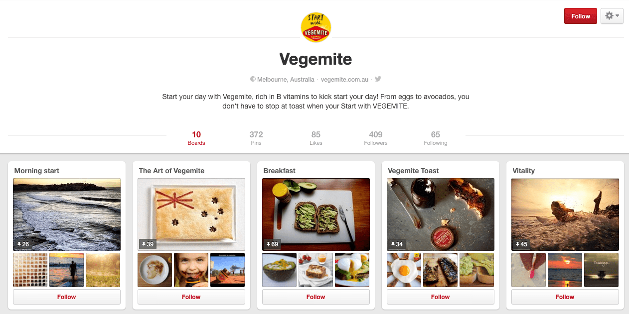 Pinterest - Vegemite Example