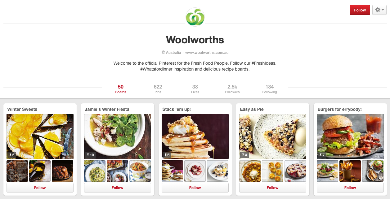 Pinterest - Woolworths Example