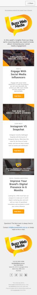 Buzz Web Media Newsletter Mobile